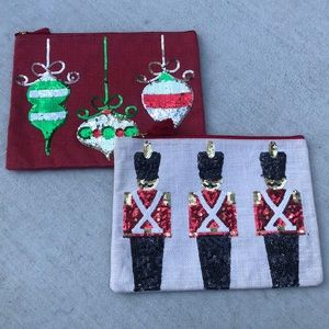 Mud-Pie Jute Christmas Ornaments Nutcracker Pouch